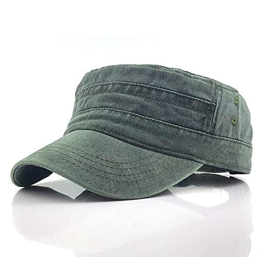 Shihuawu Sombrero de Copa Plano Ajustable de 1 Pieza de Color sólido para Hombre, Sombrero de protección Solar de Estilo clásico, Sombrero Informal-A verde-G0331