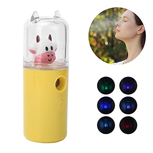 Nano Facial Mister Mini Vaporizador facial portátil con función de luz de color Hidratante Hidratante Handy Cool Mist Vaporizador recargable USB para el cuidado de la piel(amarillo)