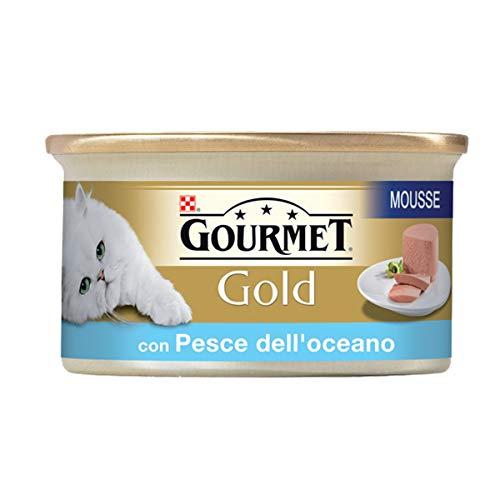 Purina Gourmet Gold Nasses Katzenfutter Mousse mit Ozeanfischen 24 Dosen á 85g, Dose 24 x 85g