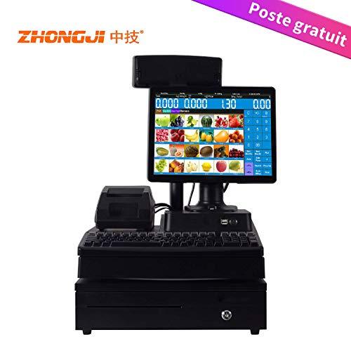 ZHONGJI MS900 point de vente Caisse enregistreuse de 12.1'' pouces avec système de point de vente, Avec imprimante 58mm, clavier 101, tirelire à trois vitesses