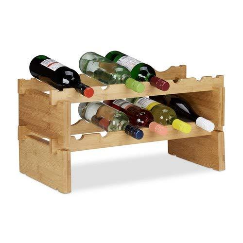 Relaxdays, Natur Weinregal stapelbar, Bambus Flaschenhalter für 12 Flaschen Wein, erweiterbarer Weinständer mit 2 Ebenen, 2 Ablagen