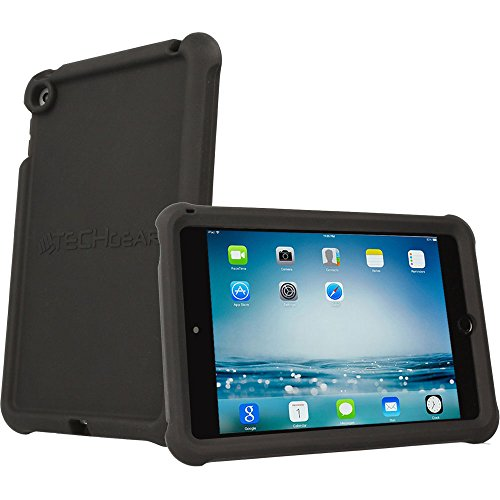 TECHGEAR Coque Bumper pour iPad Mini 5 2019, iPad Mini 4 - Coque de Protection Caoutchouc Résistante aux Chocs avec Bords et Coins Renforcés + Film de Protection [Noir]