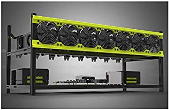 Mining Rig Frame, 8 GPU Aluminum Stackable Open Air Mining Case Computer Frame Rig Ethereum Veddha (8GPU+7FANS-V3D)