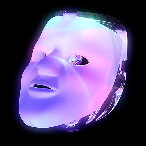 Mozlly White LED Light Up Skull Flip Double Costume Face Mask - Adjustable Strap Neon EL Wire FX Scary Face for Halloween, Vendetta Dress Up, Raves, Festivals Purge Cosplay for Adults Men Women Kids