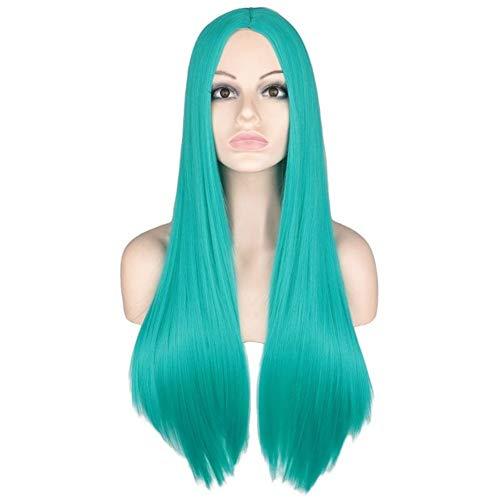 Haute qualité Longue ligne droite perruque partie médiane for les femmes Noir Blanc Rose Orange Violet Cheveux gris résistant à la chaleur perruques de cheveux synthétiques Simple et généreux