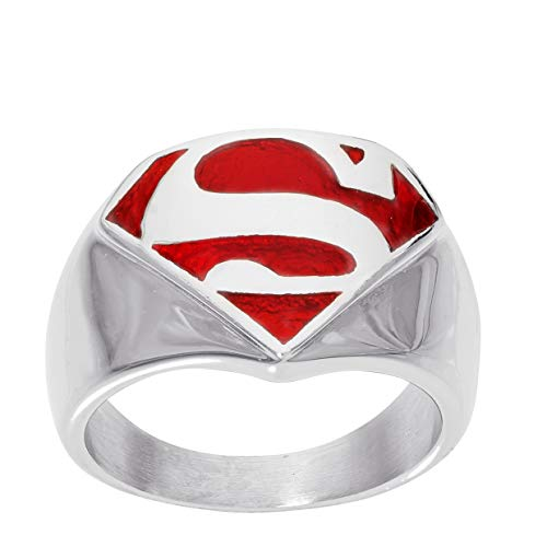 DC Comics in Acciaio Inox Justice League Superhero Logo Ring Jewelry e Acciaio Inossidabile, 17, Colore: Superman Red, cod. R600065L-10.NJ