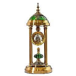 Retro Desk Clocks, Classic Metal Antique Clock, Perspective Movement, Mantle Clock for Living Room Bedroom Kitchen Desktop-Clock (Color : Metallic-C)