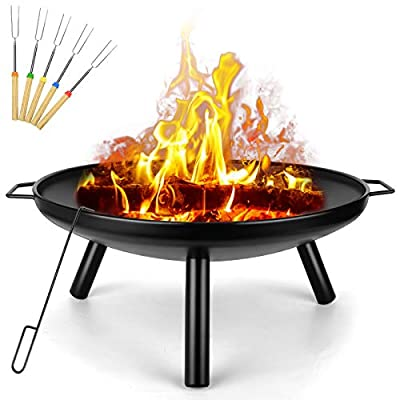 Outdoor Fire Pit, Garden Patio Heater Charcoal Log Wood Burner, Steel Fire Bowl for BBQ Camping Picnic Diameter 60 cm from SUNLIFER