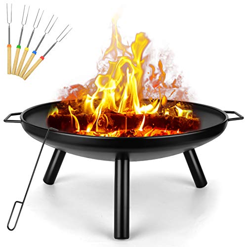 Outdoor Fire Pit, Garden Patio Heater Charcoal Log Wood Burner, Steel Fire Bowl for BBQ Camping Picnic Diameter 60 cm