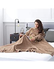 Bedsure Batamanta Polar Mujer Sofa - Manta con Mangas y Bolsillo Hombre para Pies de TV,Blanket Hoodie Suave y Acogedor,Camello,170x200cm