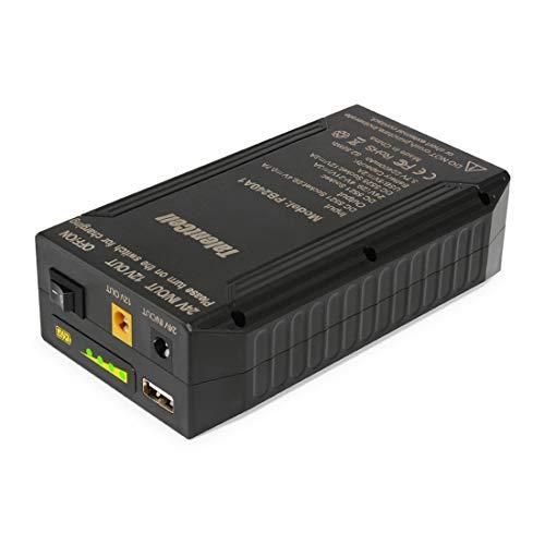 TalentCell Powerbank, externer Akku, 24/12/5V Lithium-Ionen-Akku, wiederaufladbar, 82.88 Wh, 22400 mAh, mit Ladegerät, für LED-Leuchtstreifen, CCTV-Kameras, etc, Schwarz