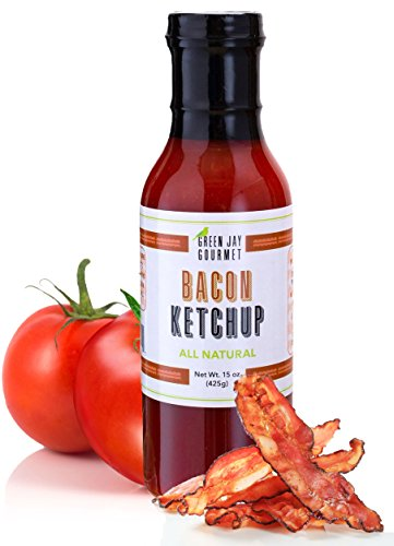 Green Jay Gourmet Bacon Ketchup - All-Natural Tomato Ketchup with Tomato Paste, Real Bacon & Gourmet Spices