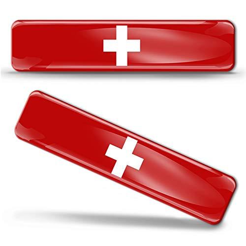 2 x sticker 3D gel siliconen stickers Switzerland vlag Zwitserland vlag vlag vlag vlag autosticker F 23