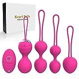 2 en 1 Kegel Ejercicio Pesas Bolas y masaje - Conjuntos de bolas Ben Wa - Bolas de silicona Kegel para principiantes y avanzados para ejercicios y ajuste del piso pélvico (rosa)