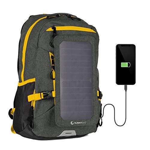 SUNNYBAG EXPLORER+ Solar-Rucksack mit abnehmbarem 6 Watt Solarpanel - Smartphone, Tablet, Smartwatch, Powerbank unterwegs mit Solarenergie laden - mit Laptopfach und 15l Volumen - schwarz-orange