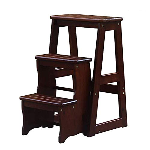 N/Z Daily Equipment Wooden Step Stool 3 Step Ladder Stools Foldable Flower Stand Multifunction Change The Shoe Bench Solid Wood 2 Colors Optional (Color : A)