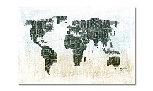 WandbilderXXL 'QuadriXXL Stampe d''Arte di qualità «Mappamondo n.1» 120x80cm - Disponibile in 6 Diverse Misure. Pronta per Essere appesa. Grandi Quadri su Tela a Basso costo.'