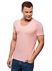 oodji Ultra Hombre Camiseta de Algodón con Cuello Pico