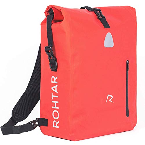 Rohtar Waterproof Messenger Bag - 3-in-1 Shoulder Pack, Backpack, Bike Pannier Travel Luggage Carrier - Mountain Cycling Rucksack - Adjustable Straps, Handlebar Clamps, Hidden Zips - Red. 18L / 25L