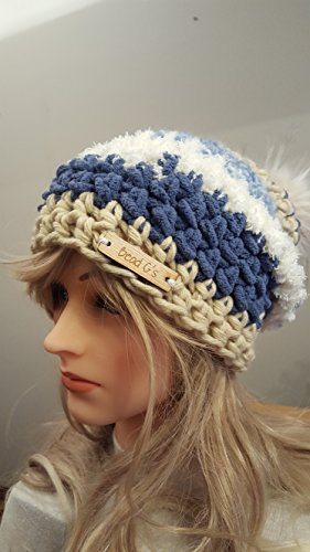 Crochet blue and Tan Fuzzy Pom Pom Hat. Made By Bead G's On AMAZON