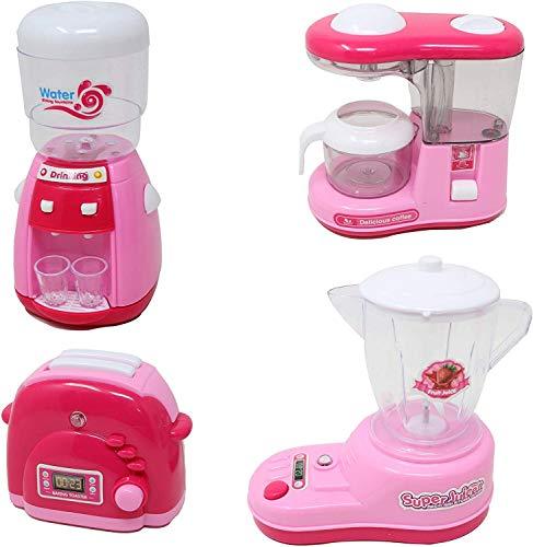 Zest 4 Toyz Kitchen Toy Set Household Appliance Kitchen Play Set Pretend Food Play for Girls,Mini Dream Kitchen Appliance Play Toy Set for Kids, Set of 4(Water Dispenser , Coffee Maker, Mixer,Toaster