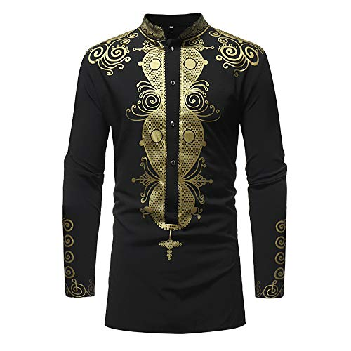 Männer Taste Hemd Herren Lange Ärmel T-Shirt V-Ausschnitt African Stehkragen Gold Druck T Shirt Kaiki Herren Langer Abschnitt Winter Tops(M,Schwarz)