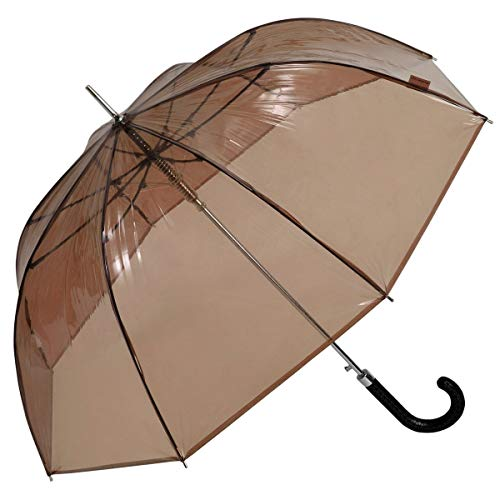 Regenschirm Glockenschirm Stockschirm Kuppel Damen Automatik Ledergriff Braun, Modell:Schwarz