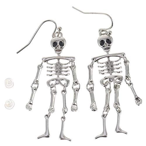 Amosfun Orecchini Scheletro di Halloween Orecchini Pendenti Vuoti Creativi Lega Gioielli Regalo di Halloween per Le Donne Accessori per Costumi di Halloween per Ragazze