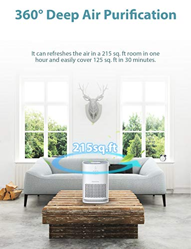 Elechomes EPI081 Air Purifier for Home with True HEPA Filter, Air Cleaner Purifiers for Allergies and Pets Smokers Pollen Dust, Odor Eliminators for Home Bedroom with Aromatherapy, 215 sq. ft