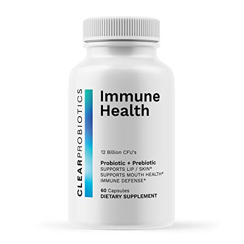 Clear Probiotics Immune Health, Daily Cold Sore Defense/Prevention Supplement (60 Tablets) Probiotic + Prebiotic with Lysine and Vitamin C Increase Immunity to Promote Healthy Lips. 12 Billion CFU's