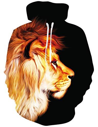Loveternal 3D Druck Kapuzenpul Löwe Hoodie Langarm Fleece Pullover Lion Sweatshirt für Teen Jungen Mädchen L