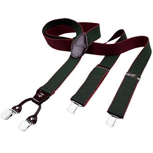 DonDon Bretelle uomo 3,5 di larghezza con 4 clip in pelle marrone a forma di Y elastiche e regolabili verdi scure