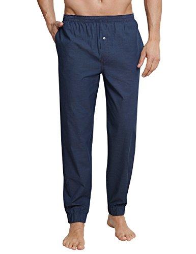 Schiesser Herren Mix & Relax Hose Lang Schlafanzughose, Blau (Indigo 824), X-Large (Herstellergröße: 054)