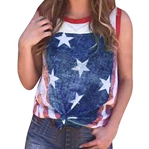 Best Bargain COLNER Womens Casual Patriotic American Flag Stars Print Sleeveless Tops Tank Shirt Blo...