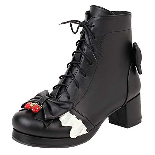 Birdsight Damen Lolita Cosplay Schuhe Rockabilly Stiefeletten mit Blockabsatz und Schnürung Chunky Heels Ankle Boots Plateau (Schwarz, 44)