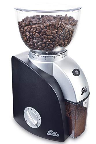Solis Elektrisches Kaffeemahlwerk, Kaffeemühle Elektrisch, 22 Mahlstufen, 300 g Fassungsvermögen, Scala Plus, Schwarz