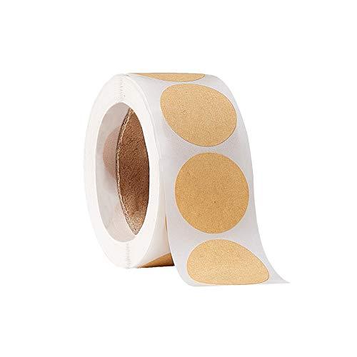PandaHall 500 etiquetas autoadhesivas de papel de estraza de 2,54 cm para regalo, nombre, artesanía, proyectos, vasos de fiesta, logotipo, pegatinas