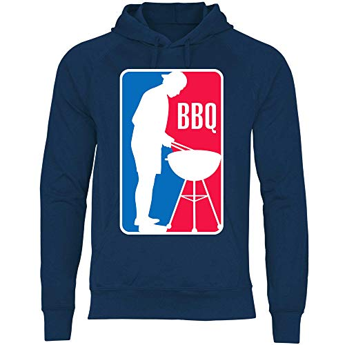 wowshirt Herren Hoodie BBQ League Liga Grillen Barbecue Grill Griller Grillmeister, Größe:M, Farbe:Deep Navy