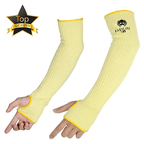 """Kevlar-Arm-Sleeves, MOKEYDOU Cut & Heat Proof Sleeve with Thumb Holes, 18"""" Inch Long Safety Arm Guide (Flexible Lighter washable) Mechanic Sleeves for Men, Women 1Pair-Yellow"""