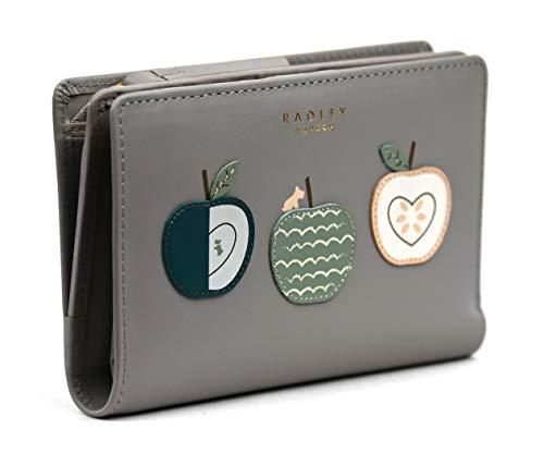 Radley Apple a Day Geldbörse mittelgroß mit Reißverschluss aus glattem, grauem Leder