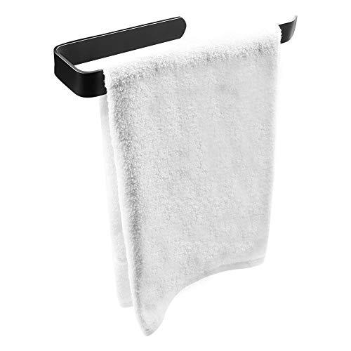 Mczcent Toallero Negro Adhesivo, 30cm Towel Rail Holder Toalleros Barra de Baño Sin Taladro Montaje En Pared Anillo Toallero para Baño y Cocina ⭐