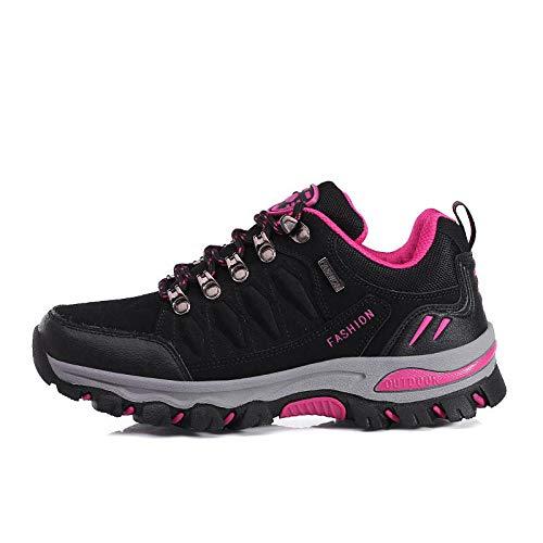 Gym Shoes Lightweight Shoes,Botas de montaña Deportivas,Zapatos para Caminar al Aire Libre Zapatos para Caminar de Gran tamaño Calzado Deportivo-Negro/Rosa Red_38#