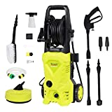 1650W 135Bar 420L/H Electric Pressure Washer Portable Patio Cleaner Car Power Washer with brush, Turbo Nozzle, Adjustable Nozzle Accessories for Garden Car Patio Yard Driveways