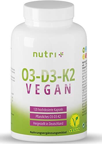 O3 - D3 - K2 VEGAN - Omega 3 Fettsäuren mit DHA aus Algenöl und ALA - Vitamin D aus Flechten und All-Trans MK7 Menachinon-7 - pflanzlich & hochdosiert - vegane O3D3K2 Kapseln