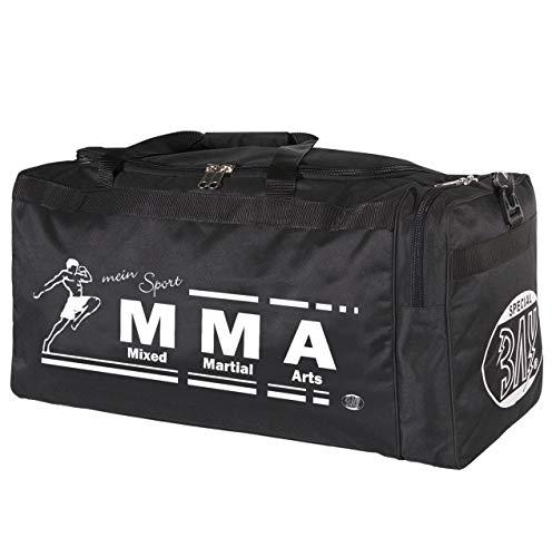BAY® XL Sporttasche Mein Sport Mixed Martial Arts MMA Fight Fighting Muaythai Mix Art UFC, Tasche, Trainingstasche, Thaiboxtasche Bag, schwarz, 70 x 32 x 30 cm Thailand Käfigkampf Käfigfight Motiv