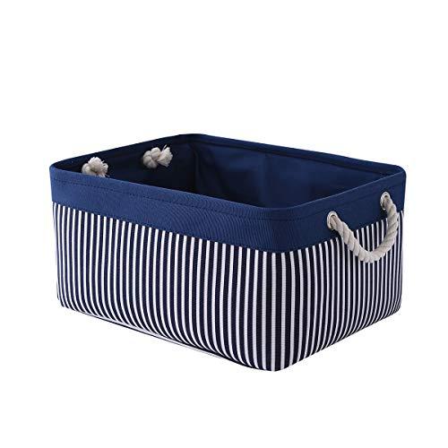 TcaFmac Canvas Storage Basket Cloth Storage Bin Basket for Organizing Decorative Basket Dog Toy Storage Gift Basket Empty Rectangle Storage Basket for Home Office Closet 16(L) x 12(W) x 8(H) inch