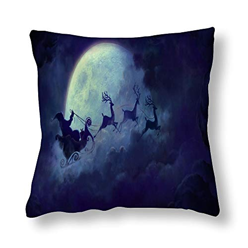 Santa Riding Deer Plum Flying Across The Moon - Funda de almohada