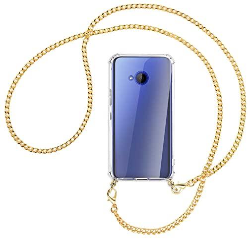 mtb more energy® Handykette kompatibel mit HTC U11 Life (5.2'') - Metallkette (Gold) - Smartphone Hülle zum Umhängen - Anti Shock Full TPU Hülle