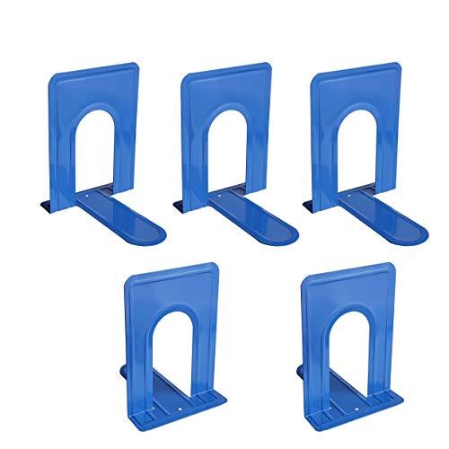 Percilun Pack de 5 Sujetalibros Metálicos, Robustos en forma de T. Organizador de Libros para Biblioteca, Estantería y Escritorio (Mediano, Color Azul)