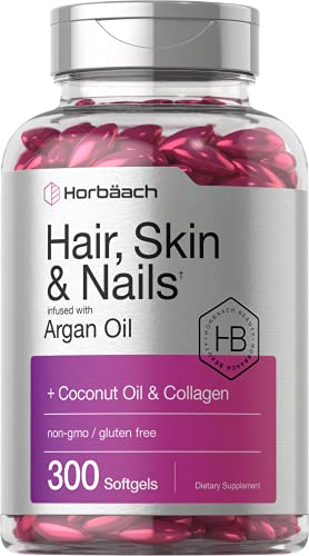 Hair Skin and Nails Vitamins | 300 Softgels | with Biotin and Collagen | Infused with Argan Oil and Coconut Oil | Non-GMO, Gluten Free Supplement | by Horbaach